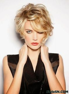 Znalezione obrazy dla zapytania short hairstyles for curly hair with bangs