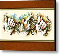 american sign language A.r.t. Canvas Print / Canvas Art By Vanessa Bates