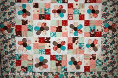 A flowery baby quilt