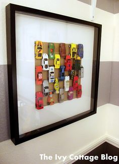 DIY Cheap and Easy Matchbox Car Wall Art Tutorial from The Ivy...