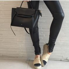 Leather pants - yes please, chanel espadrilles - give them to me, céline belt bag - WANT! @tashsefton
