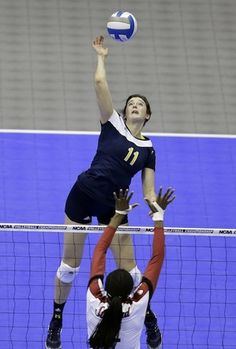 Lexi Erwin! Most recently named the Berkeley Regional MVP, this Michigan outside hitter was instrumental in helping her unranked team defeat Stanford and advance to the NCAA Final Four. She led with 23 kills and 16 digs.