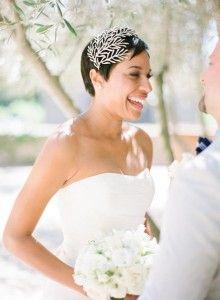 Peinados para novia de pelo corto » Mi Boda accesorios pelo tocados