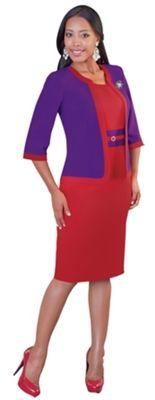 """Tally Taylor 9352 2 piece DRESS Colors: Orange/ Brown, Red/ Purple, White Jacket Length: 23 1/2""""  Skirt Length: 42"""" Sizes: 6, 8, 10, 12, 14, 16, 16W, 18, 18W, 20W, 22W, 24W, 26W"""