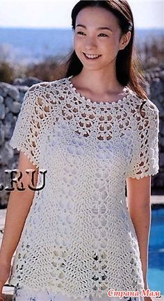 White lace tunic with round yoke. – All in openwork … (crochet) – Country Mom Gilet Crochet, Crochet Jacket, Crochet Cardigan, Knit Crochet, Crochet Tops, Beach Crochet, Crochet Baby, Black Crochet Dress, Crochet Woman