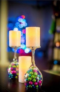 Original idea of wine glass and xmas baubles use