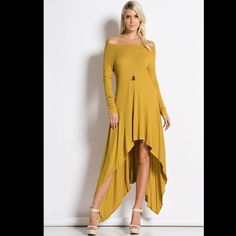 Mustard Off Shoulder Optional Dress Mustard color dress can be worn off shoulder or pulled up over shoulders. Shark bite front hemline with longer back. Brand new for boutique retail. No trades, no holding, no offsite payment.     ❗️DO NOT PURCHASE THIS LISTING❗️  Request size when ready to buy & I will list it      PRICE IS FIRM UNLESS BUNDLED Dresses