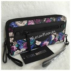 NWT Steve Madden Large Double Zip Around Wallet Wristlet Black Purple Floral