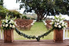 This wedding took place in Hawaii but this floral treatment could be done anywhere ... it's just gorgeous! Photography by christie-photography.com, Floral Design by dellables.com
