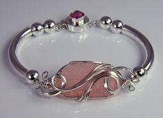 RARE! Pink Sea Glass Bangle Bracelet ©2009