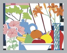 Tom Wesselmann (American, 1931-2004), Still Life with Petunias, Lillies and Fruit (Window), 1987. Enamel on cut-out aluminum, 72 x 92½ in.