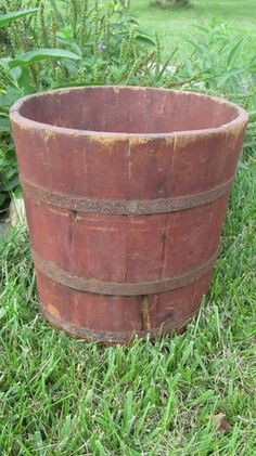 Early Bucket in Red Paint Primitive Antiques, Primitive Country, Barris, Water Barrel, Tin Buckets, Wooden Basket, Earth Tone Colors, Old Boxes, Antique Decor
