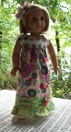Sundress and hair clip for 18 inch doll or American by ASewSewShop