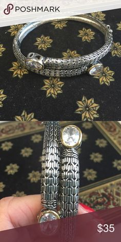 "Bangle bracelet 2 tone stainless 7"" clear crystals with yellow plating. Hinge opening with locking clasp. Jewelry Bracelets"