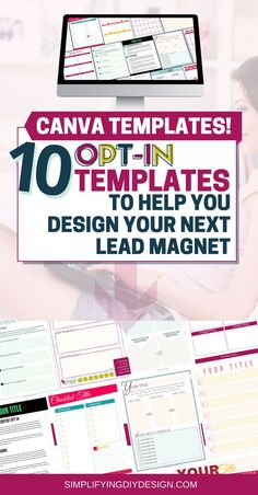 These 10 designed-for-you list building opt-in canva templates are such a game changer for anyone trying to grow their email list by creating lead magnets and content upgrades. They are already designed for you! You just pop in your amazing content and ed Social Media Tips, Social Media Marketing, Email Marketing, Internet Marketing, Make Money Blogging, How To Make Money, Business Tips, Online Business, Thing 1