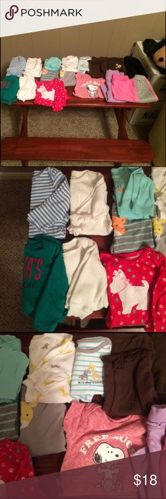 6-12mth girl bundle 6-12 month girl bundle. Contains 3-6mth l/s white and blue striped onesie, 2 6mth cream long sleeve onesie. One solid and one thermal. Green Santas favorite l/s onesie 6-9mth, red 6-9 mth l/s onesie with a dog, 6mth outfit with l/s fox onesie and pants, 6-9mth outfit set with l/s onesie and short sleeve short and matching pants with Giraffes, 6-9mth red short sleeve onesie and 6 pair of cotton/thermal/fleece pants. All good used condition. No stains or holes One Pieces…