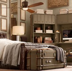 Perfect guest room idea.  The natural color palette makes the room soothing. The travel decor is inspiring.