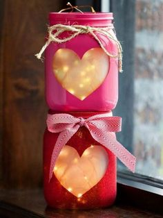 Best Mason Jar Valentine Crafts - Mason Jar Heart Lanterns With Copper Wire Lights - Cute Mason Jar Valentines Day Gifts and Crafts | Easy DIY Ideas for Valentines Day for Homemade Gift Giving and Room Decor | Creative Home Decor and Craft Projects for Teens, Teenagers, Kids and Adults http://diyprojectsforteens.com/mason-jar-valentine-crafts