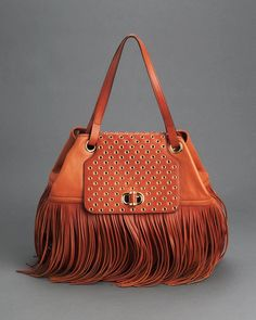 Product Name Alexander McQueen LU Genuine Leather Fringed Melrose Tote, 9/10 Condition at Modnique.com