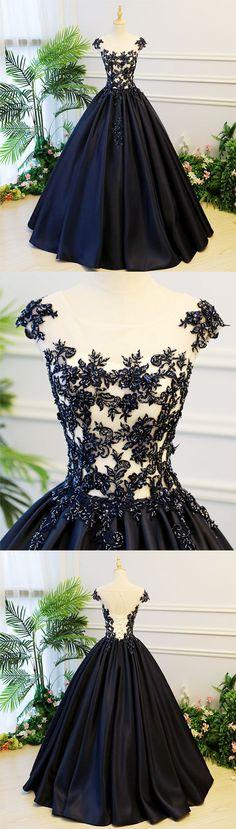 Black round neck satin long prom gown, black evening dress, black formal dress