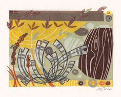 Autumn Shoreline - Angie Lewin - collage