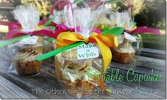 Portable Cupcakes. 9 oz punch cup in a treat bag tied with ribbon. Idea from Pinterest!