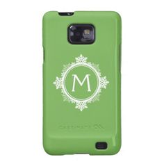 Snowflake Wreath Monogram in Lime Green & White Galaxy S2 Case  | Visit the Zazzle Site for More: http://www.zazzle.com/?rf=238228028496470081
