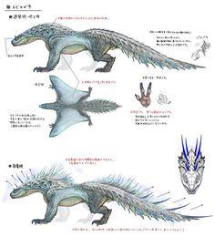 Monster Hunter: World Bestiary Day 2 – The Shocking Tobi-Kadachi - Game Inform. Monster Concept Art, Fantasy Monster, Monster Art, Female Monster, Alien Creatures, Fantasy Creatures, Mythical Creatures, Creature Concept Art, Creature Design