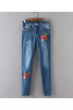 Floral Embroidery Skinny Jeans