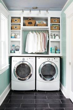 Clever Laundry Room Ideas to Inspire You. I like the counter workspace above the front loaded washer and  dryer.