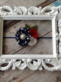 Red White and Blue Felt Flower Headband by PrincessAvasBowtique