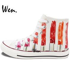 new styles 5e049 ce826 US  60.0 20% OFF Aliexpress.com   Buy Wen Men Women s Hand Painted Shoes  Design Custom Colorful Lipsticks High Top Canvas Sneakers Skateboarding  Shoe ...