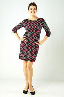 Marisa 3/4 Sleeve Shift Dress-Blocks