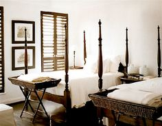 Roses and Rust: Monday Musings - Top Twenty Twin Bedrooms (Colonial) British Colonial Bedroom, British Colonial Style, West Indies Style, Two Twin Beds, Layout, Guest Bedrooms, Country Bedrooms, Tallit, Decoration