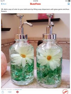 Ingenious Dollar Store Ideas You'll Want To Try Add a pop of color to your bathroom by filling soap dispensers with glass gems and faux flowers.Add a pop of color to your bathroom by filling soap dispensers with glass gems and faux flowers. Diy Home Decor Rustic, Easy Home Decor, Cheap Home Decor, 10 Dollar Store, Dollar Store Hacks, Dollar Dollar, Glass Dispenser, Soap Dispensers, Soap Dispenser Ideas