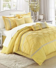 Another great find on #zulily! Yellow Vermont Embroidered Comforter Set #zulilyfinds