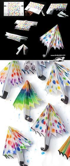 For rainy days idea.imagining it on black or gray backround,and umbrellas in color pop-up Autumn Crafts, Summer Crafts, Diy And Crafts, Arts And Crafts, Paper Crafts, Projects For Kids, Diy For Kids, Art Projects, Crafts For Kids