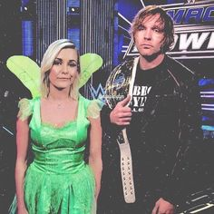 WWE Superstar Dean Ambrose (Jonathan Good) and his wife Renee Young (Renee Paquette Good) on SmackDown on Halloween #WWE #TotalDivas #wwecouples #wwewives #wwewags