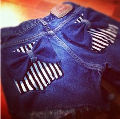 DIY bow pocket shorts. Buy high waisted pants from thrift store, pick any cute fabrics from craft store, then use left over  denim scraps to make a bow, then sew it on the pocket
