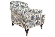 Joplin Club Chair, Indigo/Ivory Floral