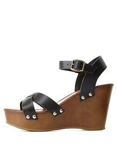 Crisscross Wooden Platform Wedges: Charlotte Russe #CRshoecloset #heels