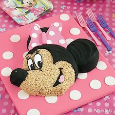 Invite Minnie Mouse to the party! Instead of a traditional cake, try a Minnie Mouse Rice Cereal cake!