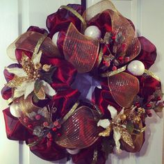 Holiday Burgundy & Gold Christmas Wreath