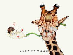 """""""Swing, Swing, Swing"""" -- Yuka Yamaguchi Giraffe Images, Yamaguchi, Giraffes, Christmas Ornaments, Holiday Decor, Cute, Christmas Jewelry, Kawaii, Christmas Decorations"""