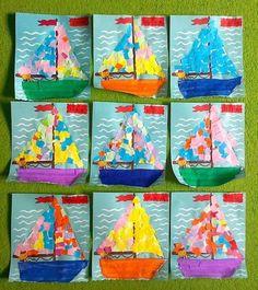 Art Projects for Kids Summer Sailboats Summer Crafts For Kids, Summer Art, Spring Crafts, Projects For Kids, Art For Kids, Art Projects, Kindergarten Art, Preschool Crafts, Preschool Science