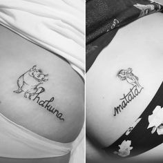 What a wonderful phrase! Ain't no passing… Hakuna matata! What a wonderful phrase! Ain't no passing craze! -Timon: It means no worries, for the rest of. Matching Disney Tattoos, Disney Sister Tattoos, Matching Best Friend Tattoos, Disney Tattoos Couples, Matching Tattoos For Cousins, Tattoo Disney, Skull Tatto, Neck Tatto, Maching Tattoos