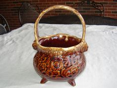 Vintage Antique Hull Pottery Brown Drip Pottery Handled Footed Planter Basket