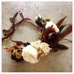 Harvest Flower & Feather Crown Headpiece by katieburley on Etsy