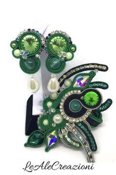 Emerald green soutache set, soutache bracelet, soutache earrings. Эсмеральдовый, зелёный сутажный браслет, сутажные серьги. Soutache set.