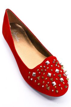 red studded flats.